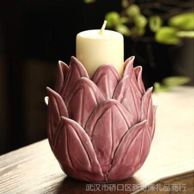 外贸尾单批发 陶瓷莲花烛台装饰摆件 香薰蜡烛烛台托D-171-172