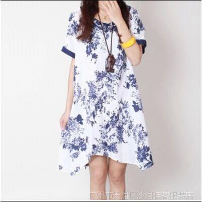 供应2014夏季新款 韩版宽松大码民族风绣花领子棉麻花色连衣裙HA