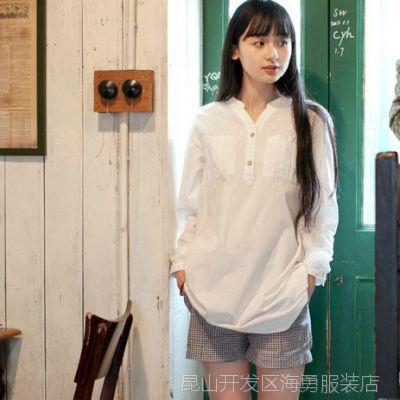 日系春装新款小清新简约宽松式衬衫胸前纯棉双口袋白色衬衫女