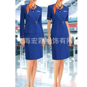 供应航空服订做、空姐套装定制、 高铁工作人员服装定做