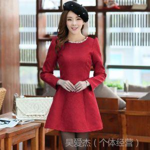 供应2013秋冬新款韩小香风气质女装 修身显瘦提花长袖连衣裙