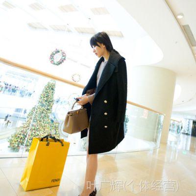 【YESWOMNE】 春季女装新款欧美女大衣 长款修身毛呢大衣外套