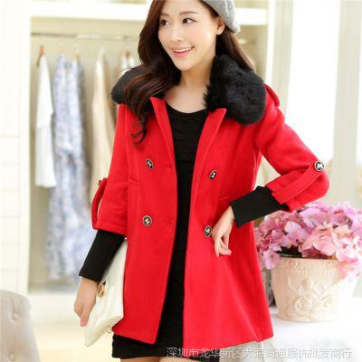 女装厂家货源 新款毛领女装红色呢大衣中长款毛呢外套