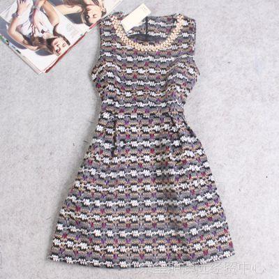 SHW850原宿重工定制女装秋冬季新款加厚针织毛呢彩色镶钻领连衣裙