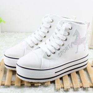 供应2014 春秋 韩版个性高帮厚底松糕鞋女鞋 白色学生鞋批发32