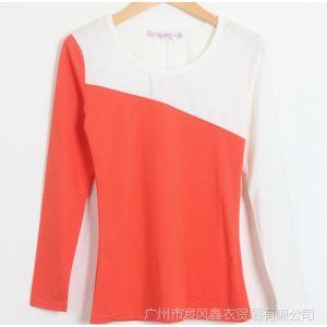 供应春秋韩版新款拼色长袖t恤女装韩版打底衫修身显瘦上衣