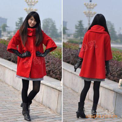 2014春季女装批发韩版宽松版毛呢外套欧美气质大码斗篷品牌风衣女
