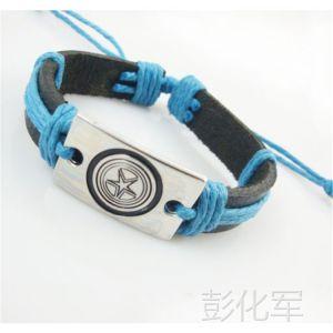 供应速卖通爆款秋季大促销蓝色绳子编织的宽皮非主流饰品明星***爱手链
