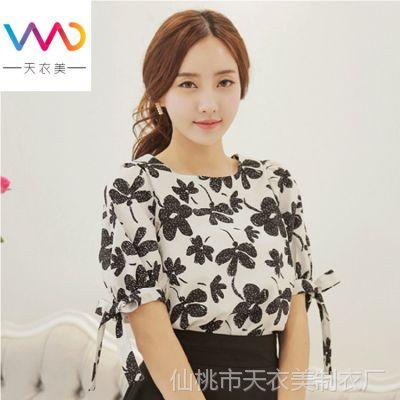 雪纺衫女 2014夏装新款韩版女装大码蝴蝶结短袖衫女式上衣0546