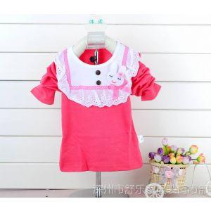 供应童雨纯棉长袖T恤 长袖打底衫 小兔长袖T恤批发