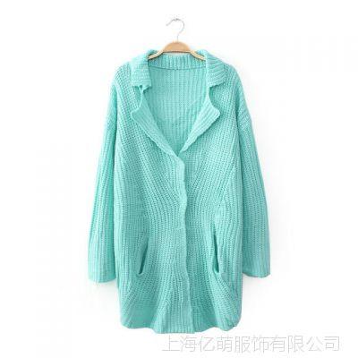 2014秋冬新款 韩版纯色糖果色 西装领长款毛衣 开衫外套女4654