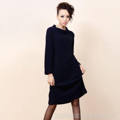供应秋冬款女装式麻花毛衣裙 来样定做 承接淘宝网毛衣小批量订单加工