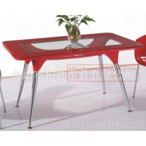 供应玻璃桌子 时尚餐桌 咖啡桌 洽谈方桌 4人位