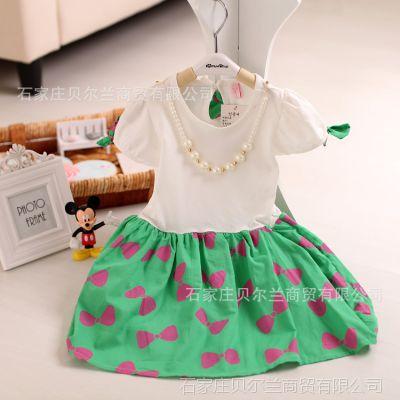 2015款儿童连衣裙 韩版女童满印蝴蝶结带项链公主连衣裙