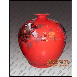 景德镇千火陶瓷供应批发定做中国红瓷瓶工艺品