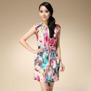 供应2014春夏新品 新生代弹力活性丝绸喷绘精品真丝连衣裙