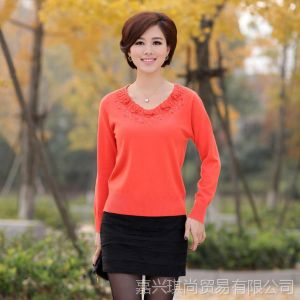 供应秋装新款女装羊绒大码长袖修身毛衣中年妈妈装打底衫外套现货批发