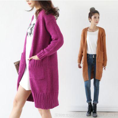 微信货源 品牌免费代理 外贸原单女装 淘宝网 中长款开衫毛衣外套