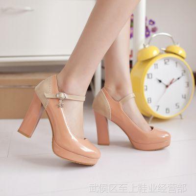 供应当季热销新款单鞋 糖果色拼色高跟鞋 欧美防水台高跟女鞋 大码鞋