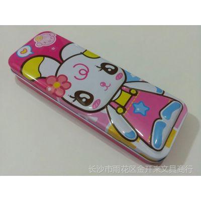 批发零售小灵精可爱娃娃创意个性双层学生铁皮铅笔盒 文具盒 笔袋