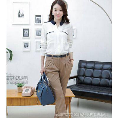 2014新款女韩版OL职业衬衫长袖大码雪纺女士衬衣