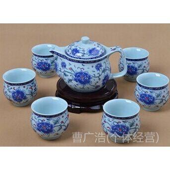 供应7头双层保温牡丹青花套装茶具 礼品 促销品