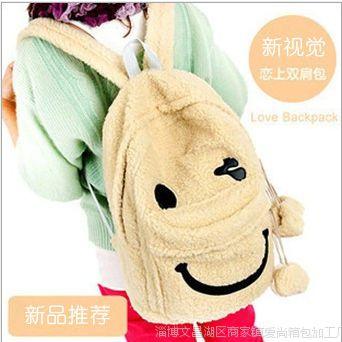 厂家大量批发日本熊包包 毛绒轻松熊书包 毛绒双肩包 笑脸毛绒包