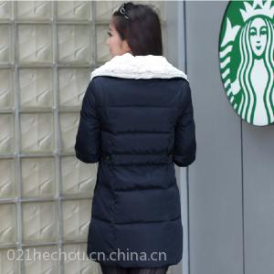 供应2013冬装新款 大翻领时尚加厚羽绒服女中长款 直筒型羽绒服批发