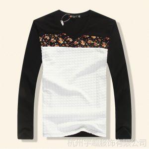 供应春装长袖t恤男圆领韩版潮纯棉男士修身莱卡打底衫男士拼接长袖T恤