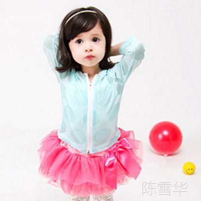 童防晒服 韩版超簿波点带帽女童防晒衣  外贸儿童空调服批发