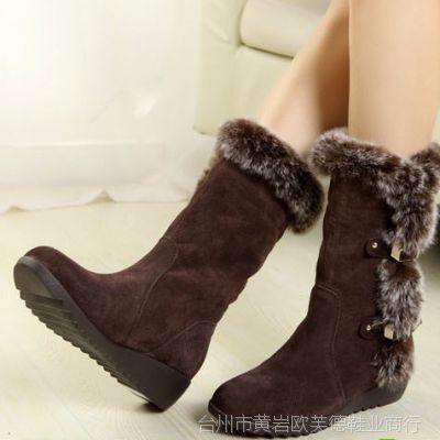 学生甜美平底坡跟中筒靴女靴子冬靴毛毛靴休闲鞋棉鞋棉靴雪地靴女