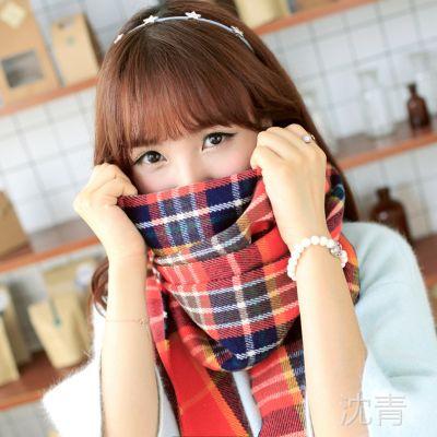 B475  新款超长两用双面围巾空调披肩大披巾加厚保暖格子女士围脖