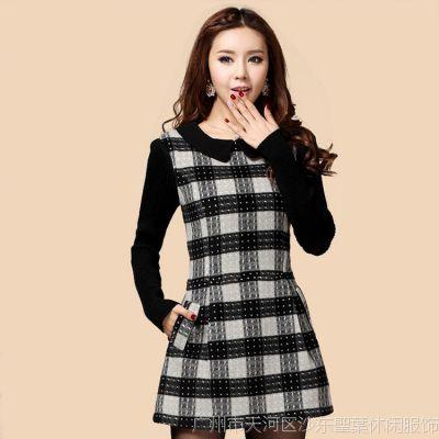 女装秋冬季新款韩版大码A字短款打底裙 羊毛呢长袖连衣裙 格子裙