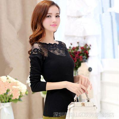 蕾丝衫女 2014秋季新款女士修身打底衫女 长袖上衣网纱小衫