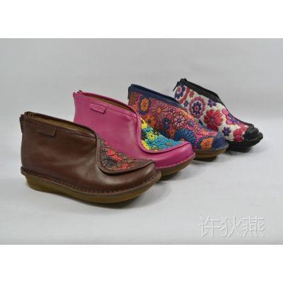 整单尾货 手工民族风高帮花鞋女鞋 厚底休闲平底鞋 特色无胶鞋