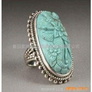 供应纯银绿松石戒指加工,纯银镶天然半宝石手饰加工