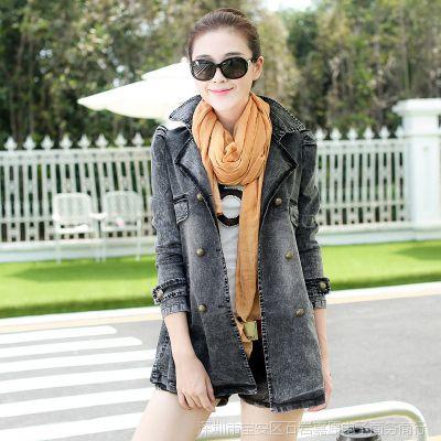 批发秋季女外套 韩版新款大码修身中长款长袖牛仔女装上衣风衣