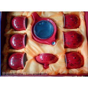 供应精品红瓷茶具,礼品中国红茶具,骨质瓷茶具
