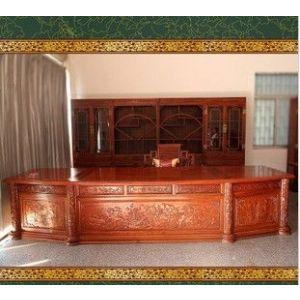 供应豪华花梨木总裁桌 红木书桌椅 书柜 文件柜大班台书房套装3.88米