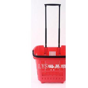 供应厂家大量供应超市购物塑胶篮手提式买菜篮铁拉杆塑料拉篮Y-01