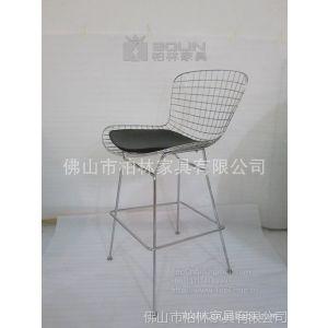 供应休闲铁线椅子 钻石钢丝吧椅 广东金属吧椅 佛山餐椅
