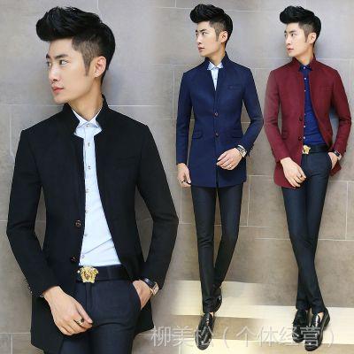 供应秋冬装新款韩版修身男士中长款风衣男式毛呢大衣外套