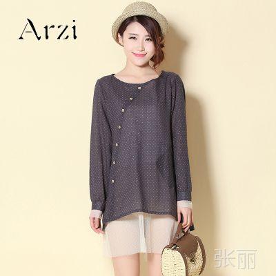 2014春季新款品牌复古圆领波点纯棉女长衫假两件套蕾丝袖口底边