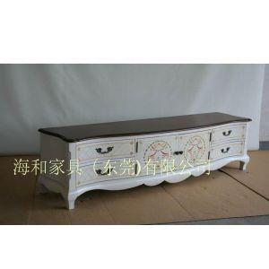 供应象牙白彩绘电视柜,订制实木家具高档家具