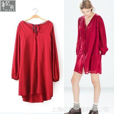 2014新款 欧美女装灯笼袖褶皱舒适人棉宽松领子系带连衣裙6488