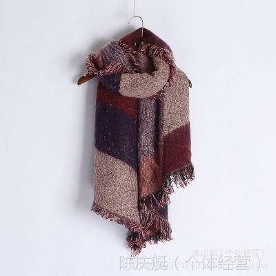 大披巾毛线大披肩 围脖女士秋冬加厚拼色流苏菱形围巾女冬季韩国