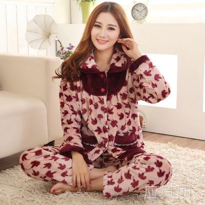 厂家直销新款女法兰绒睡衣 时尚印花女款珊瑚绒睡衣 冬季女人睡衣