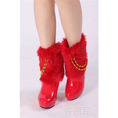 2012新款 新娘中筒靴 红色女靴子结婚棉靴婚鞋 冬款高根婚鞋