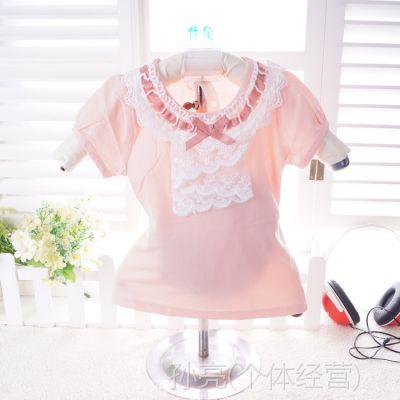 小袋鼠希瑞2014夏季韩版时尚爆款莱卡棉蕾丝织带女童半袖  68055