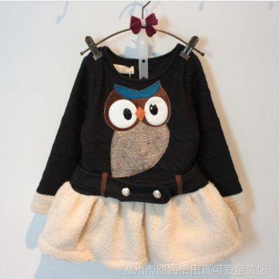 真可爱童装2014韩版 女童冬季新款猫头鹰拼接加绒保暖长袖连衣裙